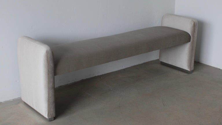 American Platinum Silver Pale Gray Mohair Bench with Chrome Base For Sale