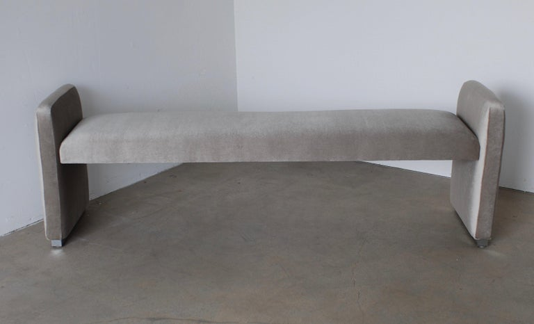 Platinum Silver Pale Gray Mohair Bench with Chrome Base In New Condition For Sale In Palm Springs, CA