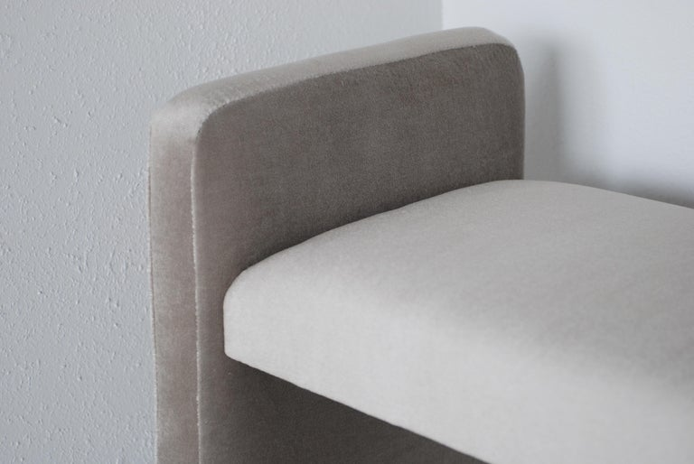 Contemporary Platinum Silver Pale Gray Mohair Bench with Chrome Base For Sale