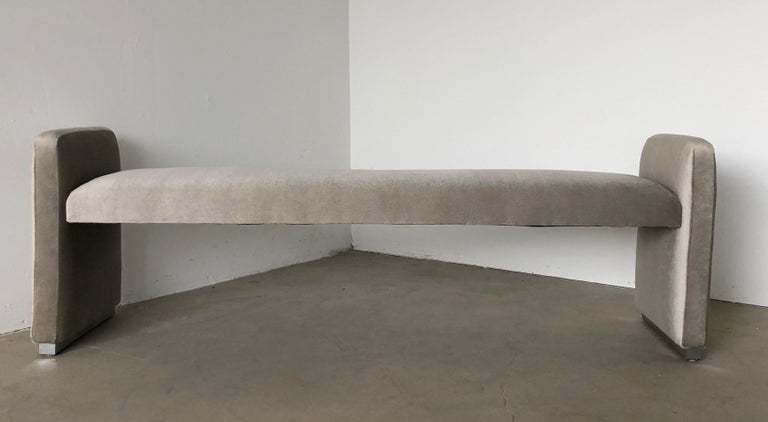 Platinum Silver Pale Gray Mohair Bench with Chrome Base For Sale 3