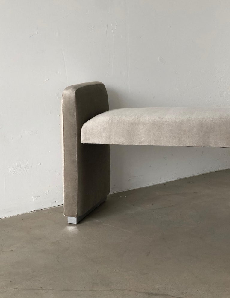 Platinum Silver Pale Gray Mohair Bench with Chrome Base For Sale 4