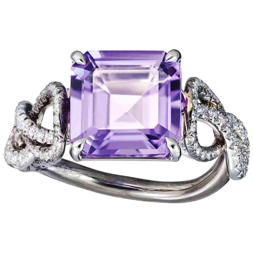 Platinum Silver Rhodium Amethyst White Diamond Engagement Cocktail Ring Aenea
