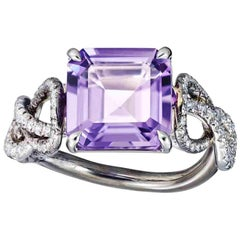 Platinum Silver Rhodium Amethyst White Diamond Engagement Cocktail Ring Aenea