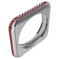 Platinum Soft Square Unisex Sculpture Ring with Rubies