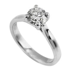 Platinum Solitaire Diamond Engagement Ring 1.02 Carat Certified