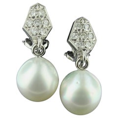 Platinum South Sea Pearl and Diamond Earrings