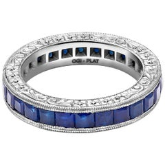 Platinum Square Sapphire Eternity Band with Old Master Engraving