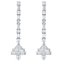 Platinum Baguette Diamond long Dangling Earrings
