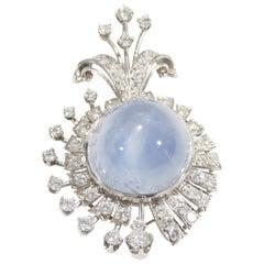 Platinum Star Sapphire Diamond Pendant White GIA Certified