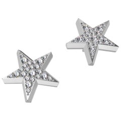 Platinum Star Stud Earrings with GIA Diamonds