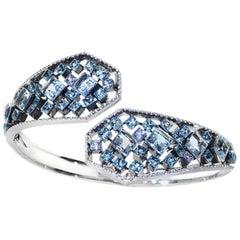 Platinum Sterling Silver  Aquamarine  Blue Topaz Bangle