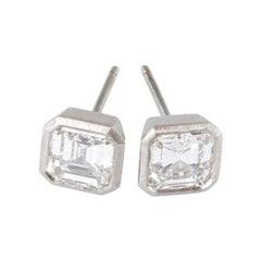 Platinum Stud Earrings with Antique Ascher Cut Diamonds 2.38 Carat