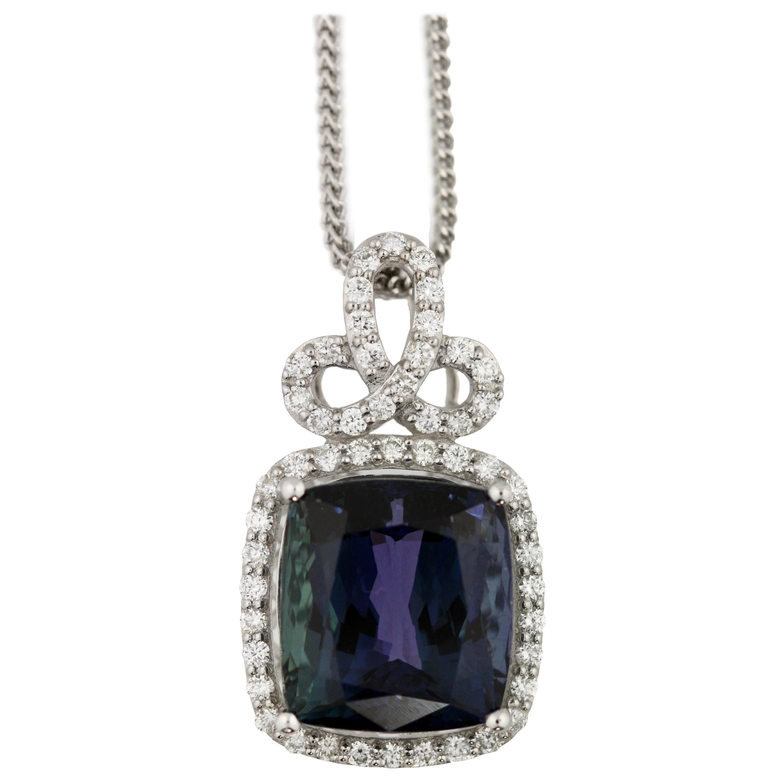 Platinum, Tanzanite and Diamond Pendant-Necklace