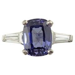 Platinum Tanzanite and Diamond Ring GAI Certified