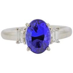 Platinum Tanzanite Diamond Engagement Ring