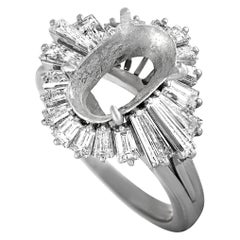 Platinum Tapered Baguette Diamond Oval Mounting Ring