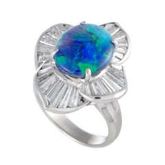 Tapered Baguette Diamonds and Blue Green Opal Platinum Ring