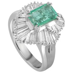 Platinum Tapered Baguette Diamonds and Emerald Marquise Ring