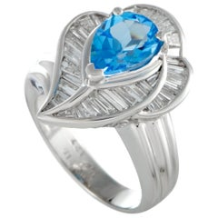 Platinum Tapered Baguette Diamonds and Topaz Leaf Ring