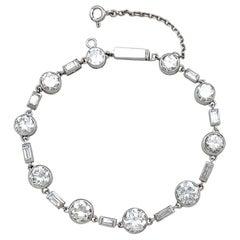 Platinum Tennis Bracelet Set with European Cut and Baguette Cut Diamonds