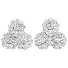 Platinum Three Diamonds Flowers Together Earrings