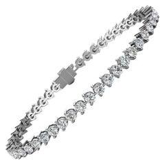 Platinum Three Prongs Diamond Tennis Bracelet '5 Carat'