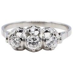 Platinum Three-Stone .50 Carat Round Diamond Engagement Ring