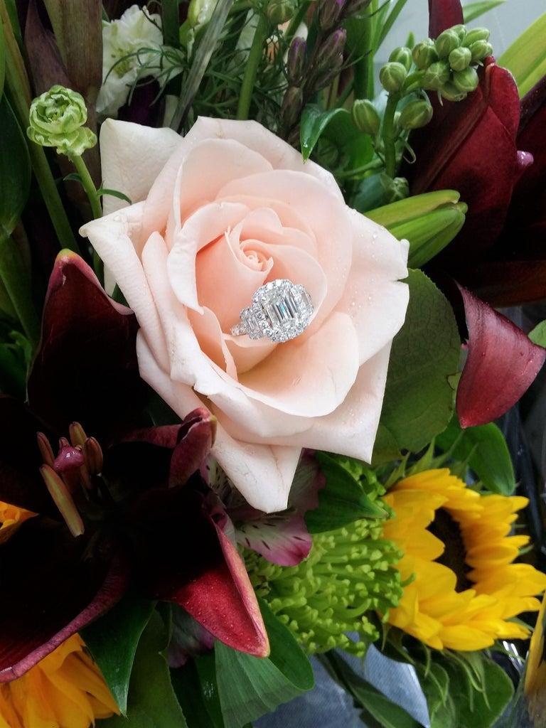 Platinum GIA Three-Stone Diamond Emerald Cut Engagement Ring For Sale 2