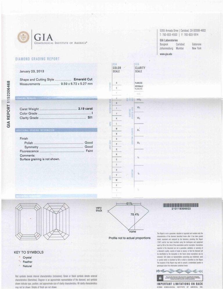 Platinum GIA Three-Stone Diamond Emerald Cut Engagement Ring For Sale 4
