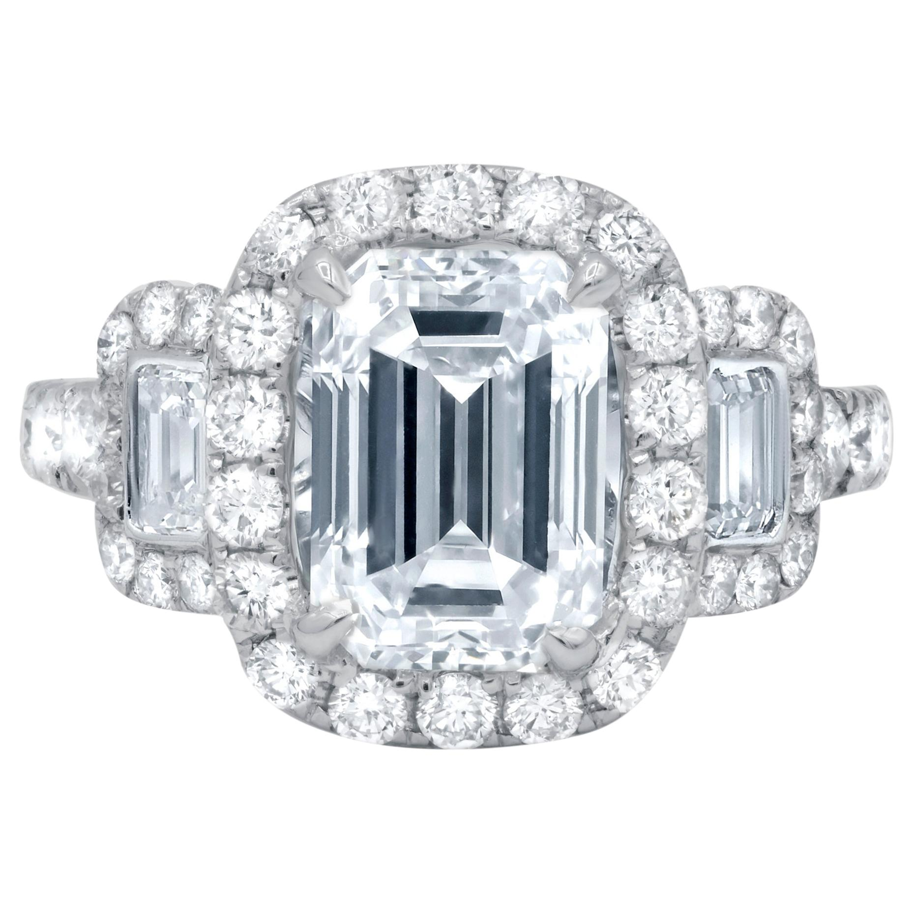 Platinum GIA Three-Stone Diamond Emerald Cut Engagement Ring