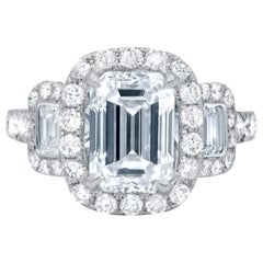 Platinum GIA Three-Stone Diamond Emerald Cut Engagement Ring
