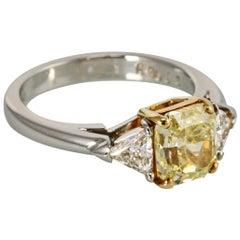 Platinum Three-Stone Fancy Yellow Radiant Cut Diamond Engagement Ring