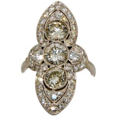 Platinum Three-Stone Frame Diamond Art Deco Inspired Ring