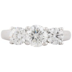 Platinum Three-Stone GIA Diamond Ring