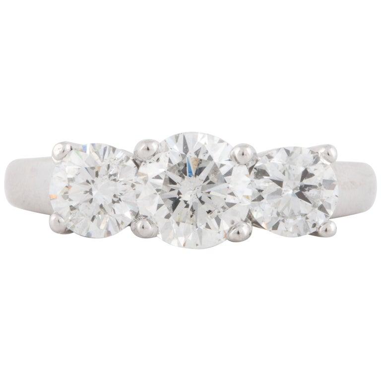 Platinum Three-Stone GIA Diamond Ring For Sale