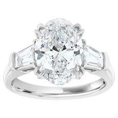 Platinum Three Stone Oval & Tapered Baguette Diamond Ring GIA 3.62 Carat