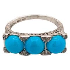 Platinum Three-Stone Turquoise Ring