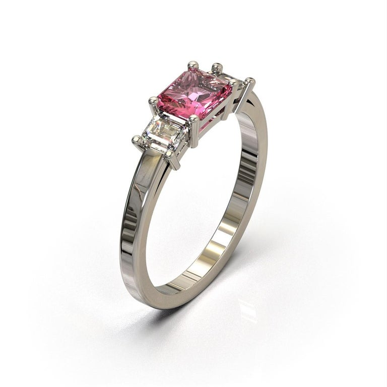 f684afcd85551 Platinum Three Stones Radiant Cut Pink Sapphire and Emerald Cut Diamond Ring