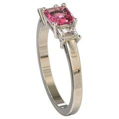 Platinum Three Stones Radiant Cut Pink Sapphire and Emerald Cut Diamond Ring