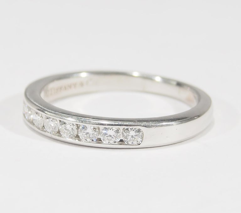 Platinum Tiffany & Co. Ring White 0.54 Carat In Good Condition For Sale In Boca Raton, FL