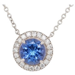 Platinum Tiffany & Co. Tanzanite Pendant White 0.70 Carat
