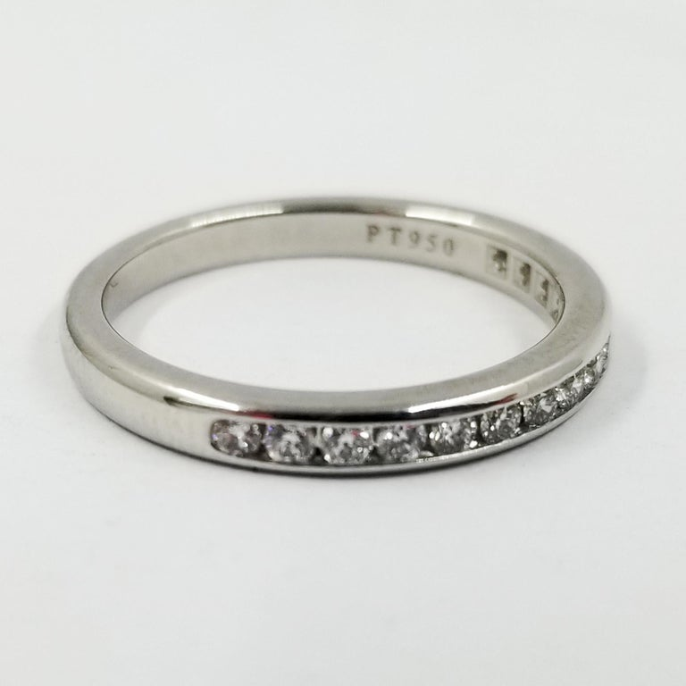 Platinum Tiffany & Co. Channel Set Round Diamond Band Ring In Excellent Condition For Sale In Coral Gables, FL