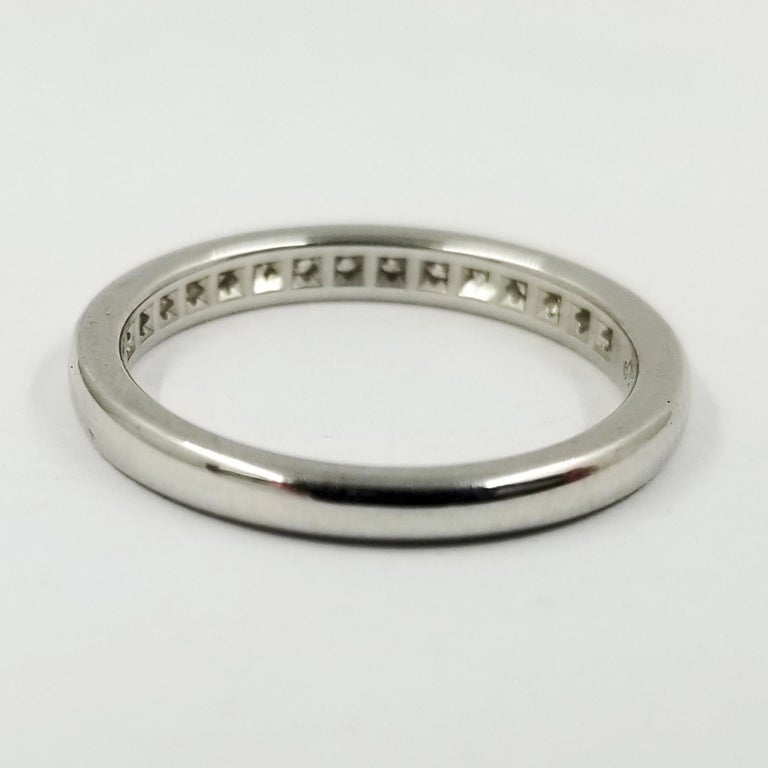 Women's Platinum Tiffany & Co. Channel Set Round Diamond Band Ring For Sale