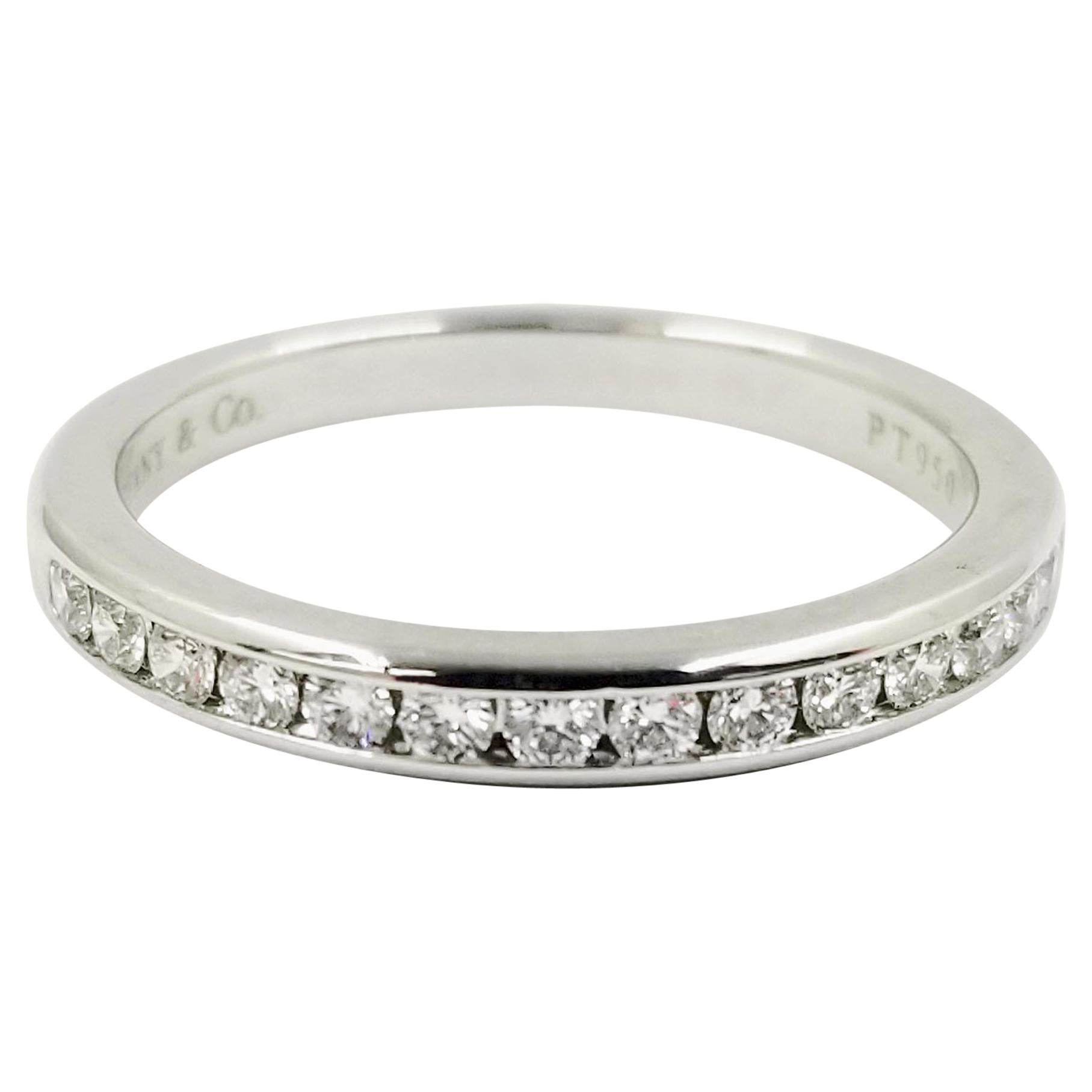 Platinum Tiffany & Co. Channel Set Round Diamond Band Ring