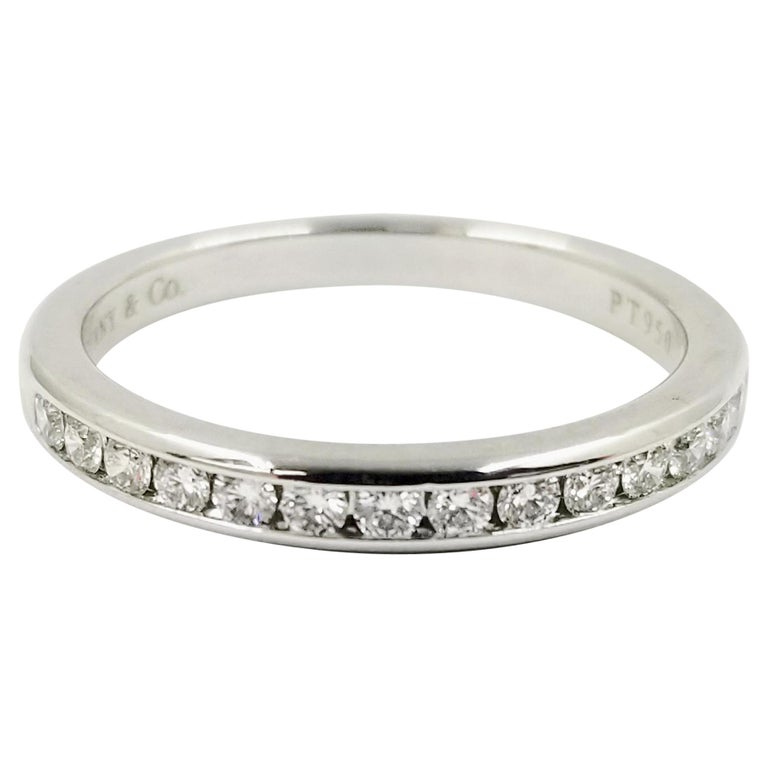 Platinum Tiffany & Co. Channel Set Round Diamond Band Ring For Sale
