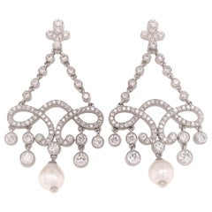 Platinum Tiffany & Co. Diamond and Pearl Drop Earring