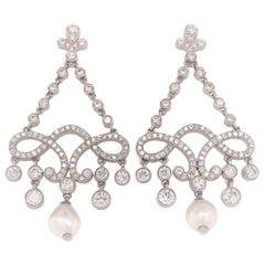 Platinum Tiffany & Co. Diamond and Pearl Drop Earring