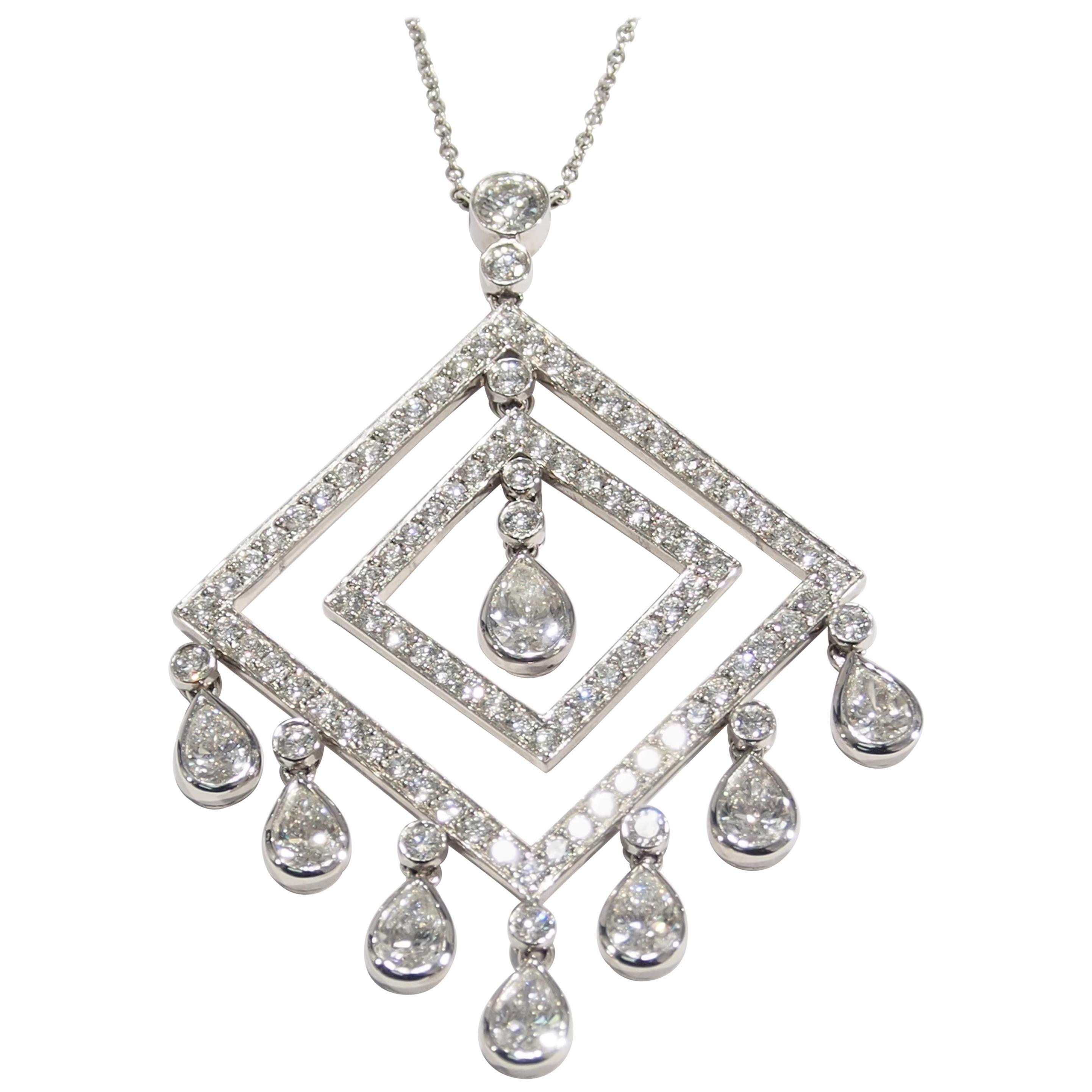0dd2c5f91a61b Platinum Tiffany & Co. Diamond Necklace Pendant White Large 5.00 Carat