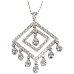 Platinum Tiffany & Co. Diamond Necklace Pendant White Large 5.00 Carat