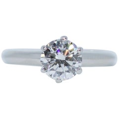 Platinum Tiffany & Co. Solitaire 1.02 Carat F-Si1 Triple Excellent Ring